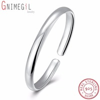 GNIMEGIL Simple Style 6mm 7mm 925 Sterling Silver Bangle Men Women Gift Trendy Solid Round Bracelets