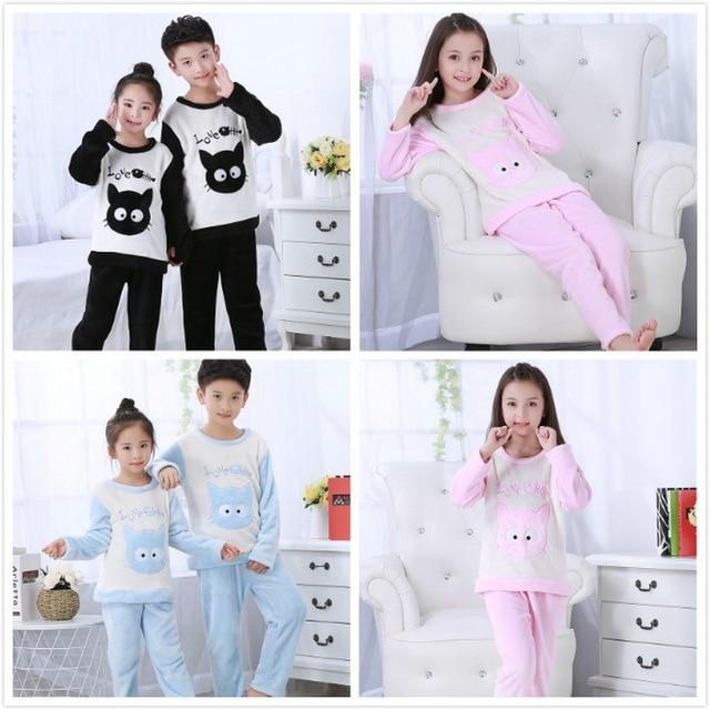 3a52260d12c1 Winter Pajama Set girls Children Soft Fleece Pyjamas Flannel ...
