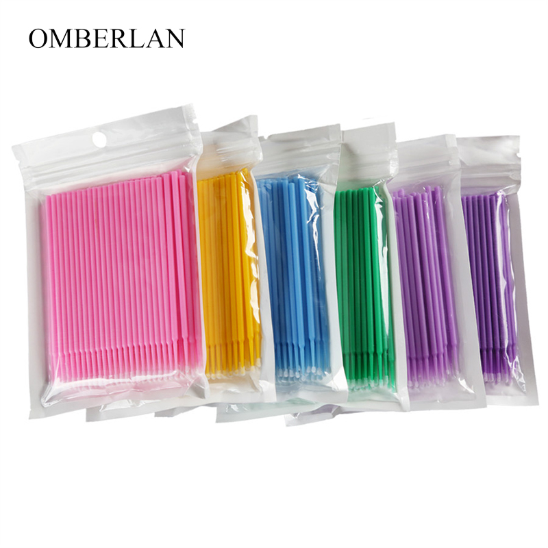 100pcs/lot Disposable Makeup Brushes Durable Micro Eyelash Extension Applicators Mascara Brush For Eyelash Glue Cleaning Stick