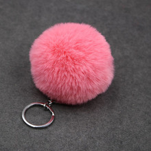 8CM Fluffy Ball Fur Pompom Key Chain Pompom Artificial Rabbit Fur Keychain Women Car Bag Key