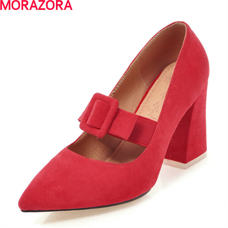 MORAZORA New flock square high heels wedding shoes woman fashion elegant work shoes pointed toe women pumps solid big size 34-46 plus big size 34 47 shoes woman 2017 new arrival wedding ladies high heel fashion sweet dress pointed toe women pumps a 3