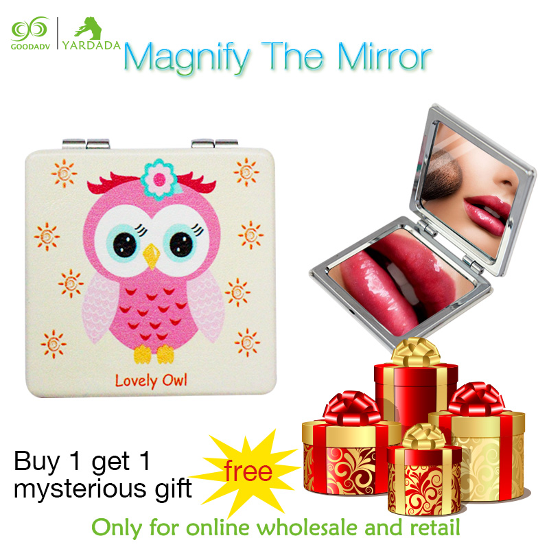 Cute cartoon owl round magnifying mirror 2X Magnification portable folding pocket travel mirrors mini purse plain collection