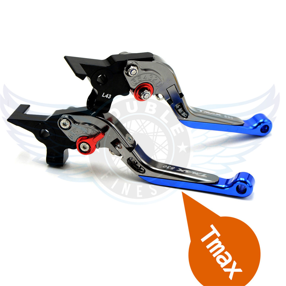 Motorcycle CNC Foldable&Extendable&Adjustable Brake Clutch Levers Blue For Yamaha TMAX530 TMAX 530 T-MAX530 T-MAX 530 2009 for yamaha tmax tmax530 t max t max530 530 xp530 red blue new style blue logo motorcycle adjustable short brake clutch levers