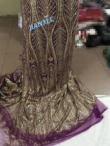 Image 5 - Na sprzedaż afrykańska francuska koronka siatkowa tkanina JIANXI.C 11867 dla sukienka na imprezę z klejonego brokat cekiny koronki tkaniny