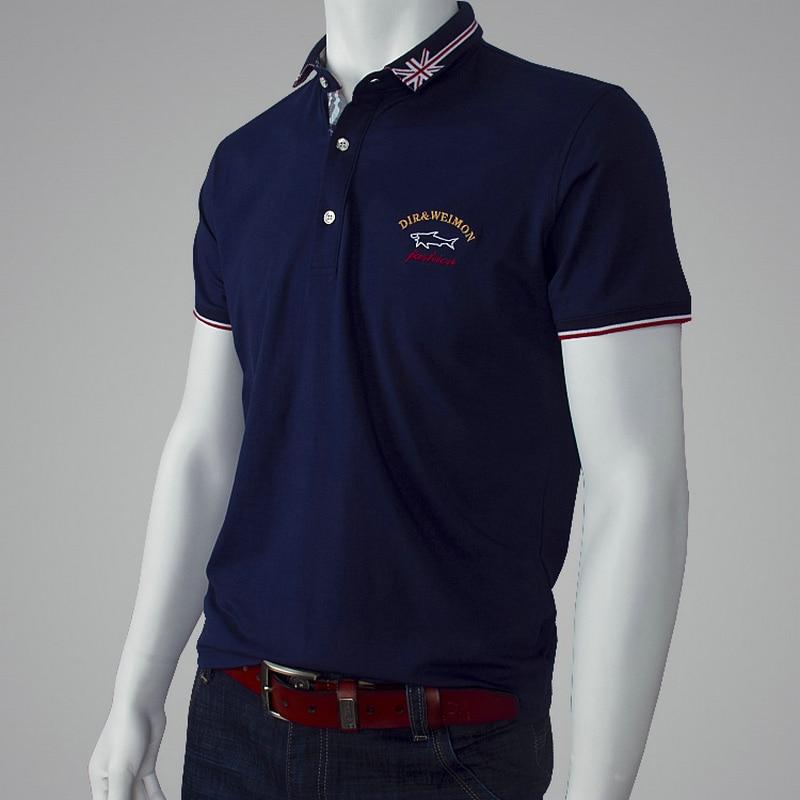 Men's   Polo   Shirt Fashion Brand Shark Pattern   Polo   Homme Men Loose Business&Casual Cotton Short Sleeve Breathable   Polo   Shirt