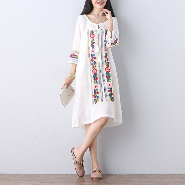 Free Shipping Hot Sale Womens Vintage Retro Mexican Ethnic Floral Embroidery  Blouse Boho Dress Casual Chic Dresses Vestidos ee3b58141f64