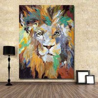 HOT sale Handmade Abstract Animal Lion King Oil Painting on Canvas Wall art picture for living room Home Decoration no frame