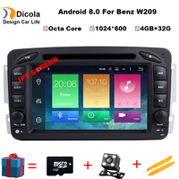 Car DVD GPS Player For Mercedes Benz W203 W209 W203 C209 W693 W463 Viano Vito Android 8.0 Octa Core Mirrorlink Radio BT Wifi SD