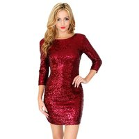 New Year Dress Women O Neck Long Sleeve Paillette Sequins Backless Bodycon Slim Pencil Dresses