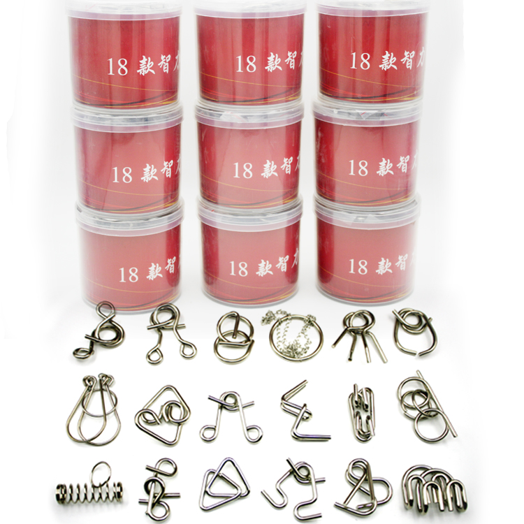 Set 18PCS 20Pieces IQ Metal Wire Puzzle Mind Otak Teaser Permainan - Teka-teki - Foto 2
