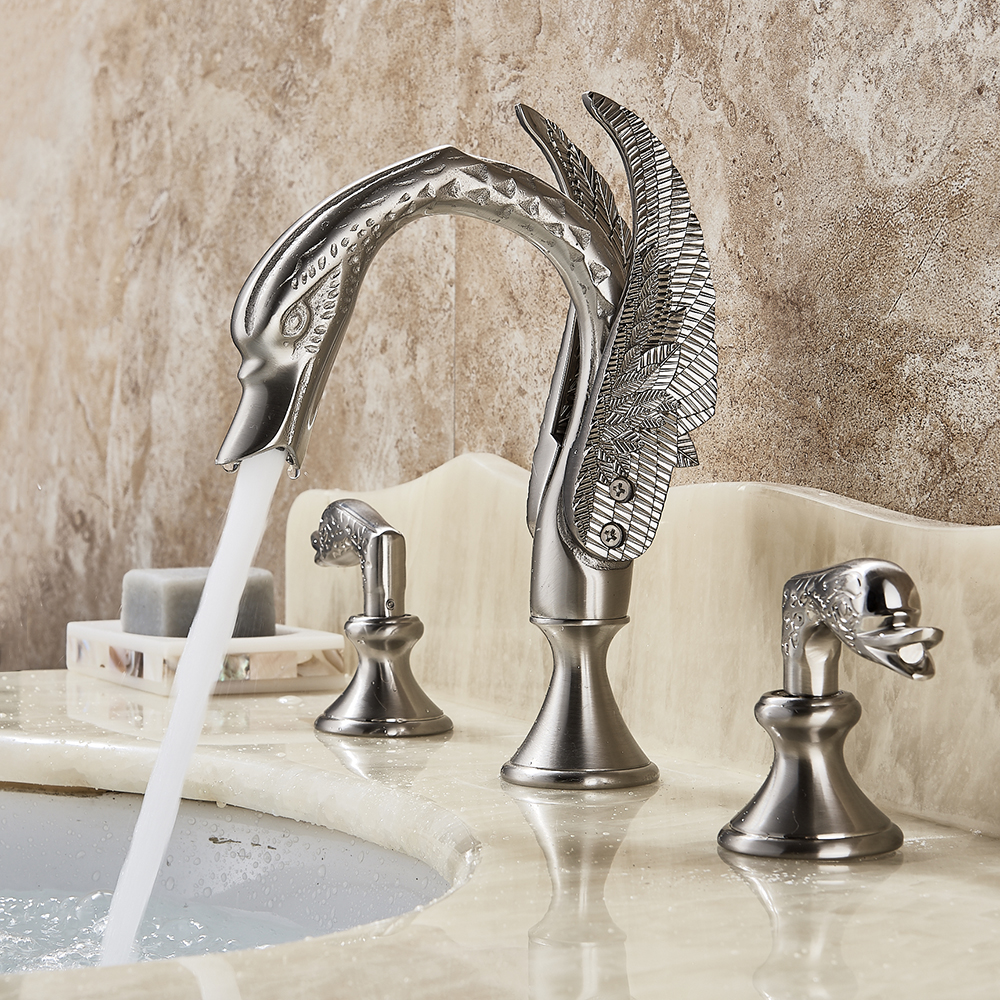 Luxury Bathroom Faucet Brass Gold Finish Golden Swan Shape Basin Tap Dual Handle Deck Mount Mixer Tap Sink Faucets donyummyjo luxury bathroom basin faucet brass golden polish swan shape single handle hot&cold water vanity sink mixer tap page 1