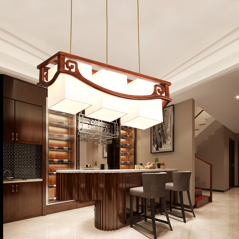 Solid Wood Antique Tea Houses Bars Rectangular Dining Modern New Chinese  Pendant Lights LO8106
