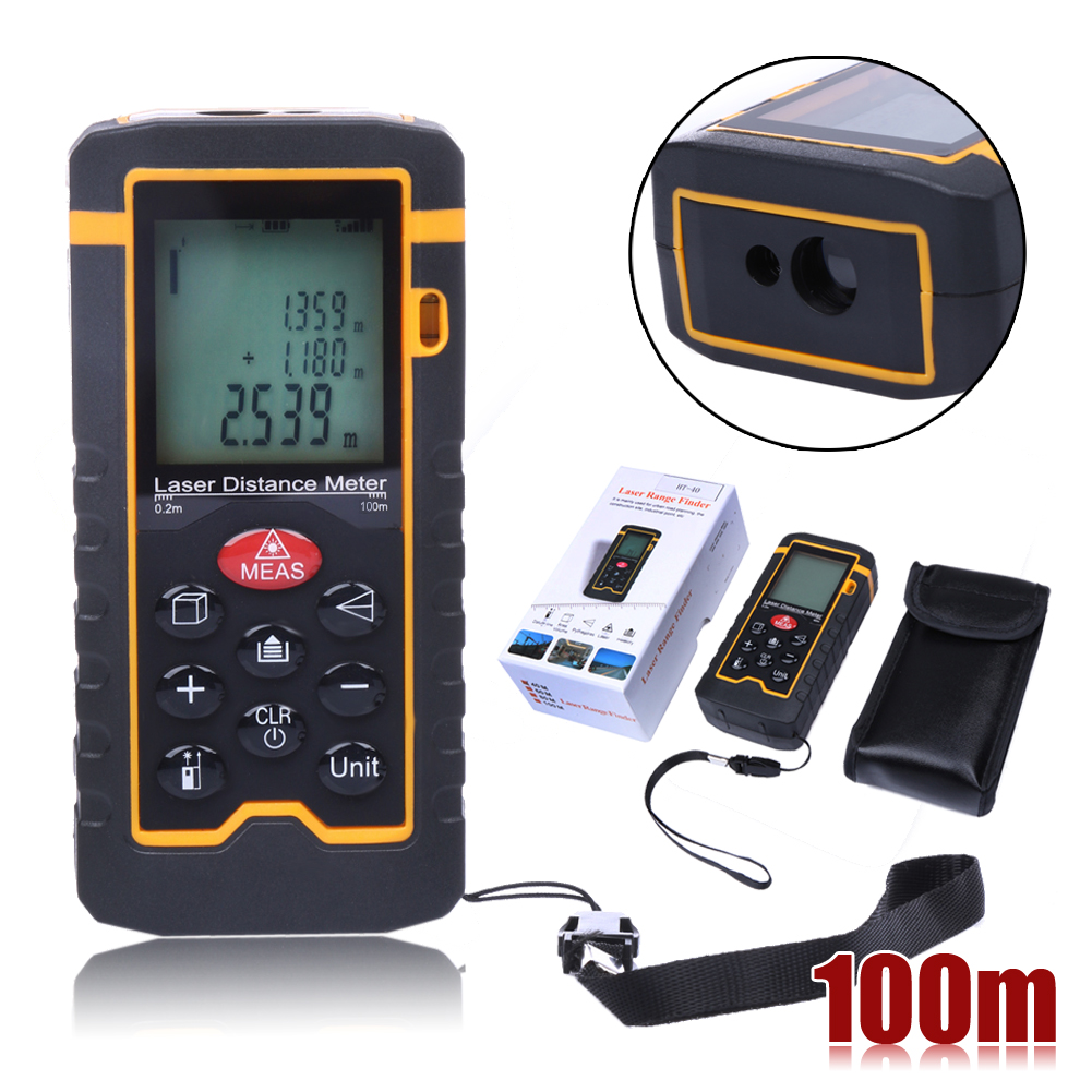 100M/328ft/3937in Laser Distance Meter Rangefinder Battery-Powered Digital Laser Tape Range Finder Measure Diastimeter Tool цена