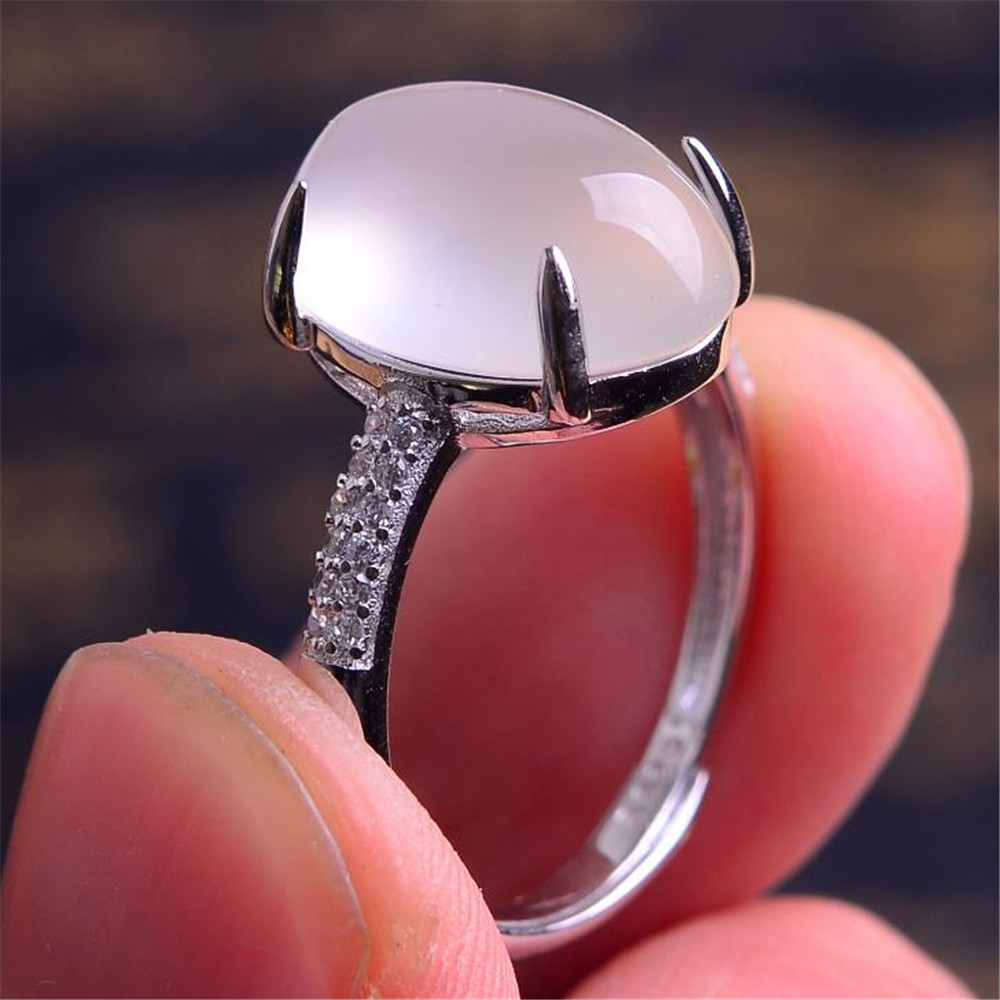 2019 YKNRBPH Lady's S925 sterling silver Ring White Agate Chalcedony Stone Party Open Ring Fine Jewelry