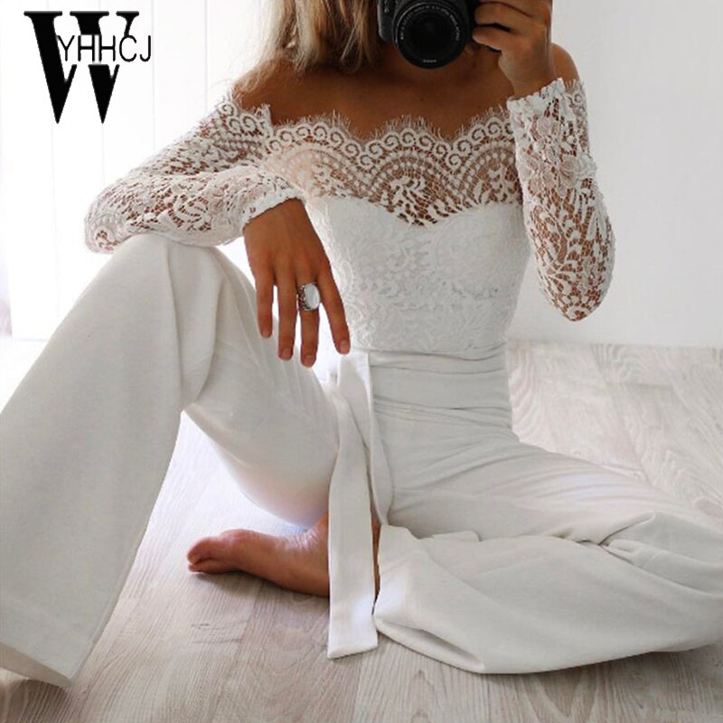 WYHHCJ 2018 donne di estate tuta donne sexy spalle a maniche lunghe tuta rappezzatura del merletto aderente pagliaccetti womens jumpsuit