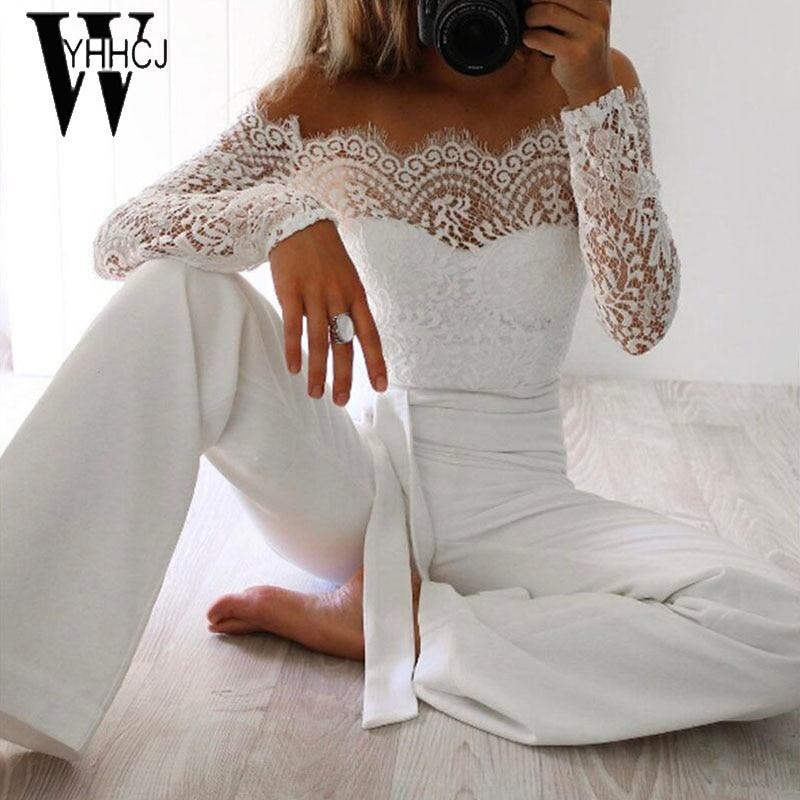 WYHHCJ 2018 frauen sommer overall sexy schulterfrei langarm frauen bodysuit spitze patchwork bodycon strampler womens jumpsuit