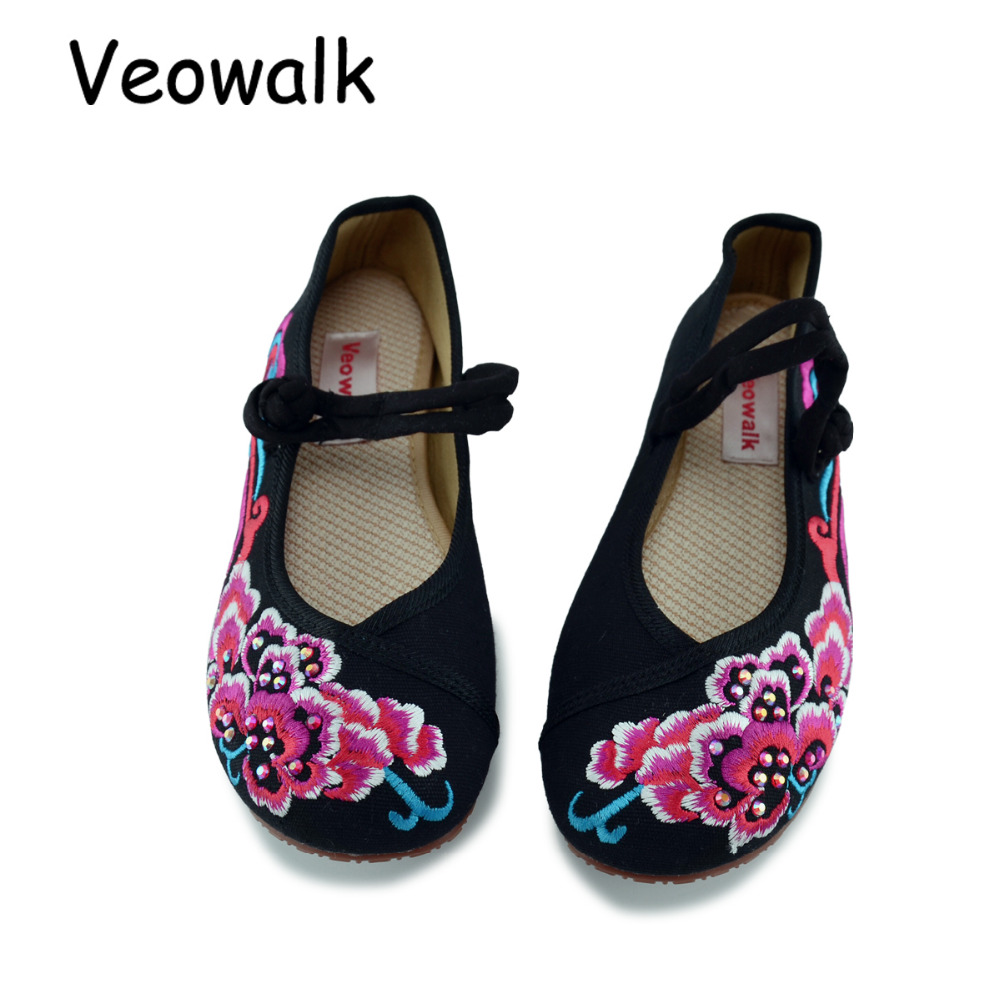Veowalk Woman Flower Embroidery Casual Shoes Women's Old Beijing Cotton Cloth Soft Canvas Flats Dancing Shoes Big Size 34-41 vintage embroidery women flats chinese floral canvas embroidered shoes national old beijing cloth single dance soft flats