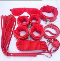 Adult Game 7 Pieces kit Leather Fetish Sex Bondage Restraint Handcuff gag Queen Consume Nipple Clamps Sex Toy for Couples ST22