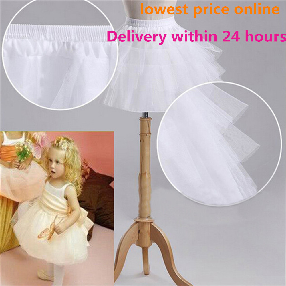 Fast Shipping Wedding Accessories Kids Girls Petticoat Vestido Longo Ball Gown Crinoline Skirt Petticoats In Stock