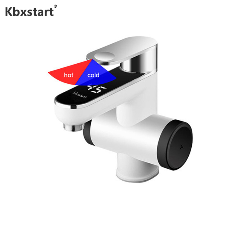 Kbxstart Washroom Calentador EU/UK Plug Electric Instant Water Heater Tap 220V Banheiro Heating Faucet With Temperature Led ShowKbxstart Washroom Calentador EU/UK Plug Electric Instant Water Heater Tap 220V Banheiro Heating Faucet With Temperature Led Show