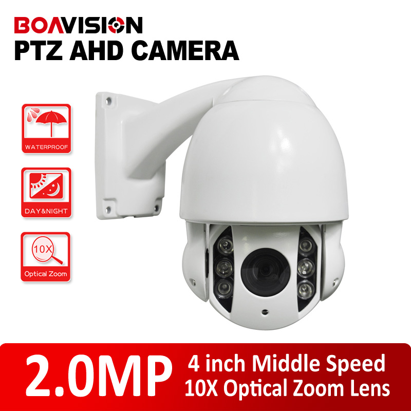 High Performance 1080P 4'' Mini 2.0MP PTZ Speed Dome AHD Camera 5-50mm 10X Zoom Outdoor Vandal-Proof/Waterproof 6Pcs IR 60m