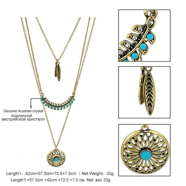 Long Bohemian Gold Color Beads Necklace & Pendant