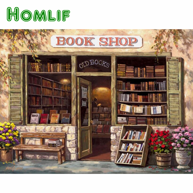 HOMLIF 5d diy diamond painting cross stitch square book shop full 3d diamond embroidery needlework home decor Gift Art Shop