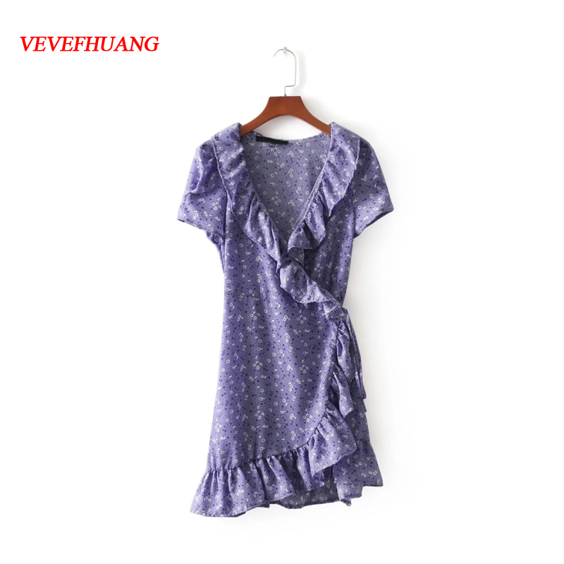 Summer Female Lavender Print Dress Women High Waist Sexy Asymmetrical Short Dresses Vintage Feminine Bodycon Vestidos Clothes