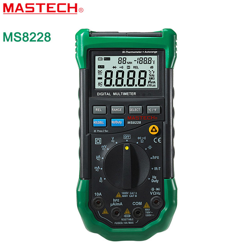 MASTECH MS8228 Digital Multimeter Environment Automatic range 4000 Counts Non-Contact IR Thermometer Relative Humidity Tester mastech ms8260f 4000 counts auto range megohmmeter dmm frequency capacitor w ncv