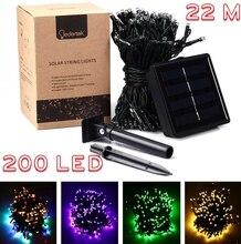 200 LED 22 M Guirnalda de Luces  Solar de  8 Modos Impermeable para la Luz del Patio, Jardín, Terraza, Fiesta, Navidad, Boda