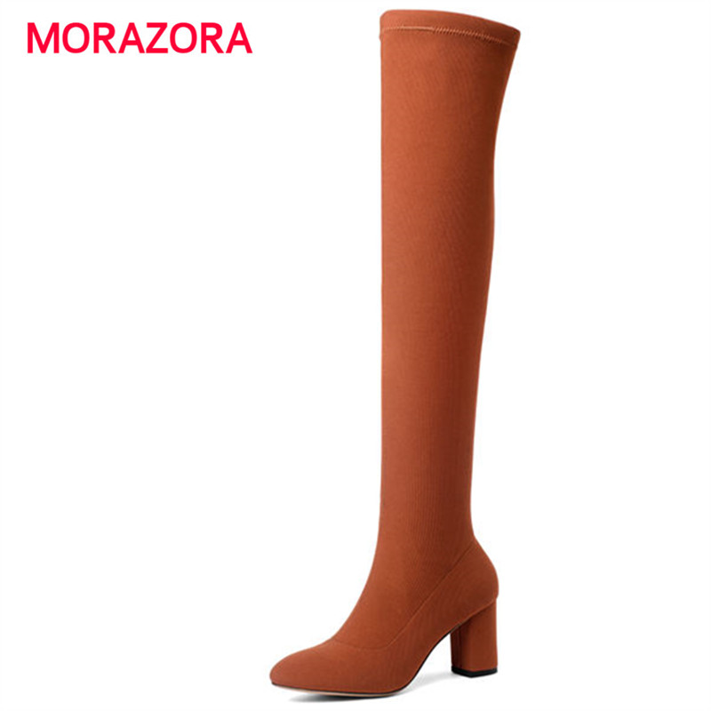 MORAZORA big size autumn winter over the knee boots fashion slip on high heel boots pointed toe square heel women bootsMORAZORA big size autumn winter over the knee boots fashion slip on high heel boots pointed toe square heel women boots