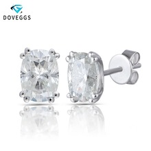 DovEggs 14K White Gold 2.0ctw 5*7mm GH Colorless Cushion Cut Lab Created Moissanite Diamond Stud Earrings For Women Fine Jewelry