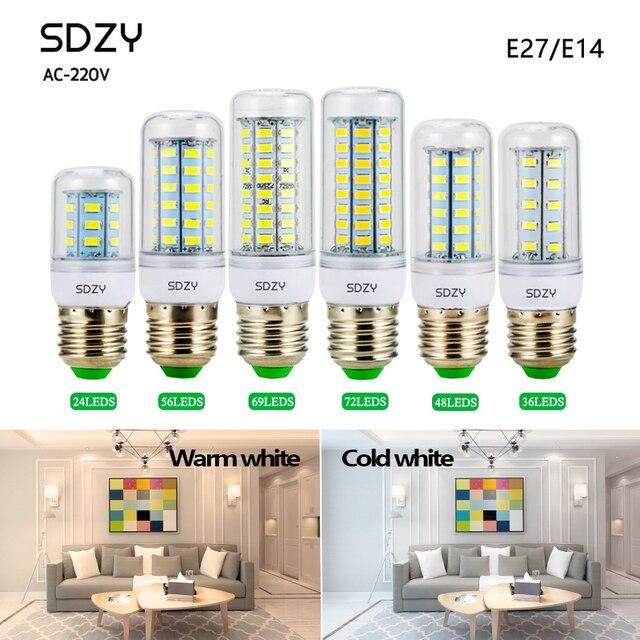 LED הנורה בהירות גבוהה E27 E14 24 36 48 56 69 72 נוריות SMD 5730 אור LED תירס הנורה 220 V חיסכון באנרגיה הנורה led מנורת e27 e14
