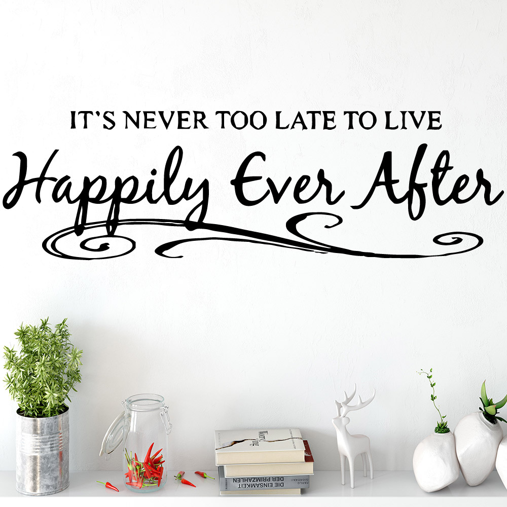 Diy Quotes Happily Ever Alter Wall Art Decals Decorative Fashion Sticker For Kids Rooms Home Decoration Art Decor Wallpaper image