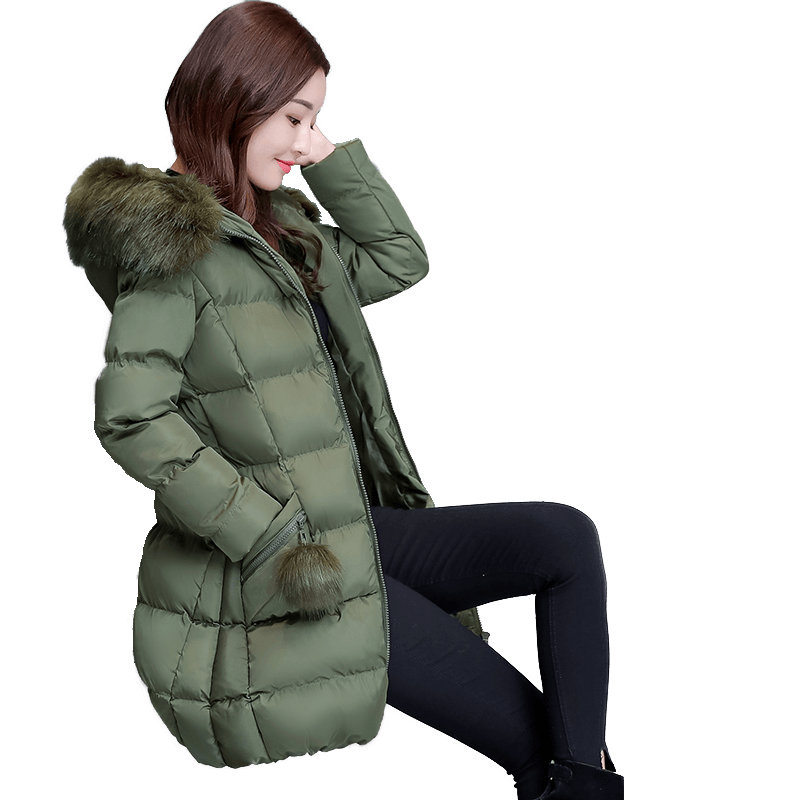 Plus Size 4XL Women Winter Jacket Hoodies Fur Collar Warm Female Jacket   Parka   Mujer Cotton Women Winter Coat Abrigo Mujer C5095
