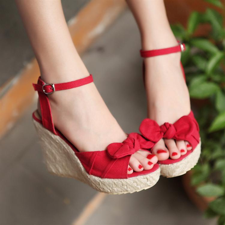 wedges sandals bow leg belt