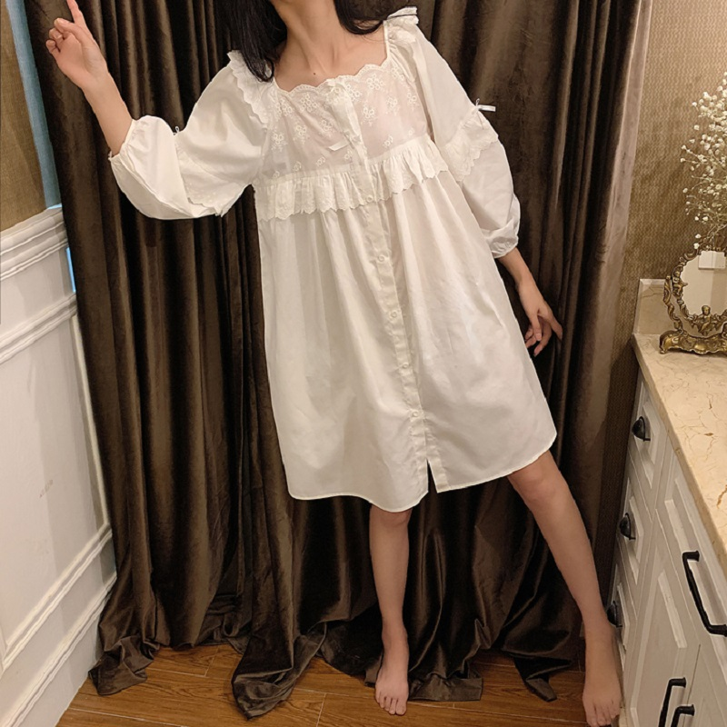 Sweet Women's White Cotton Lace Floral Nightgowns Long Sleeve Loose Female Nightshirt Royal Sleepwear Summer Autumn