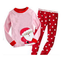 Baby boy girls clothes children clothes Christmas Nightwear Pj's Sleepwear 2pcs long sleeve shirt+pant Pajamas 1-7Y Xmas Gift