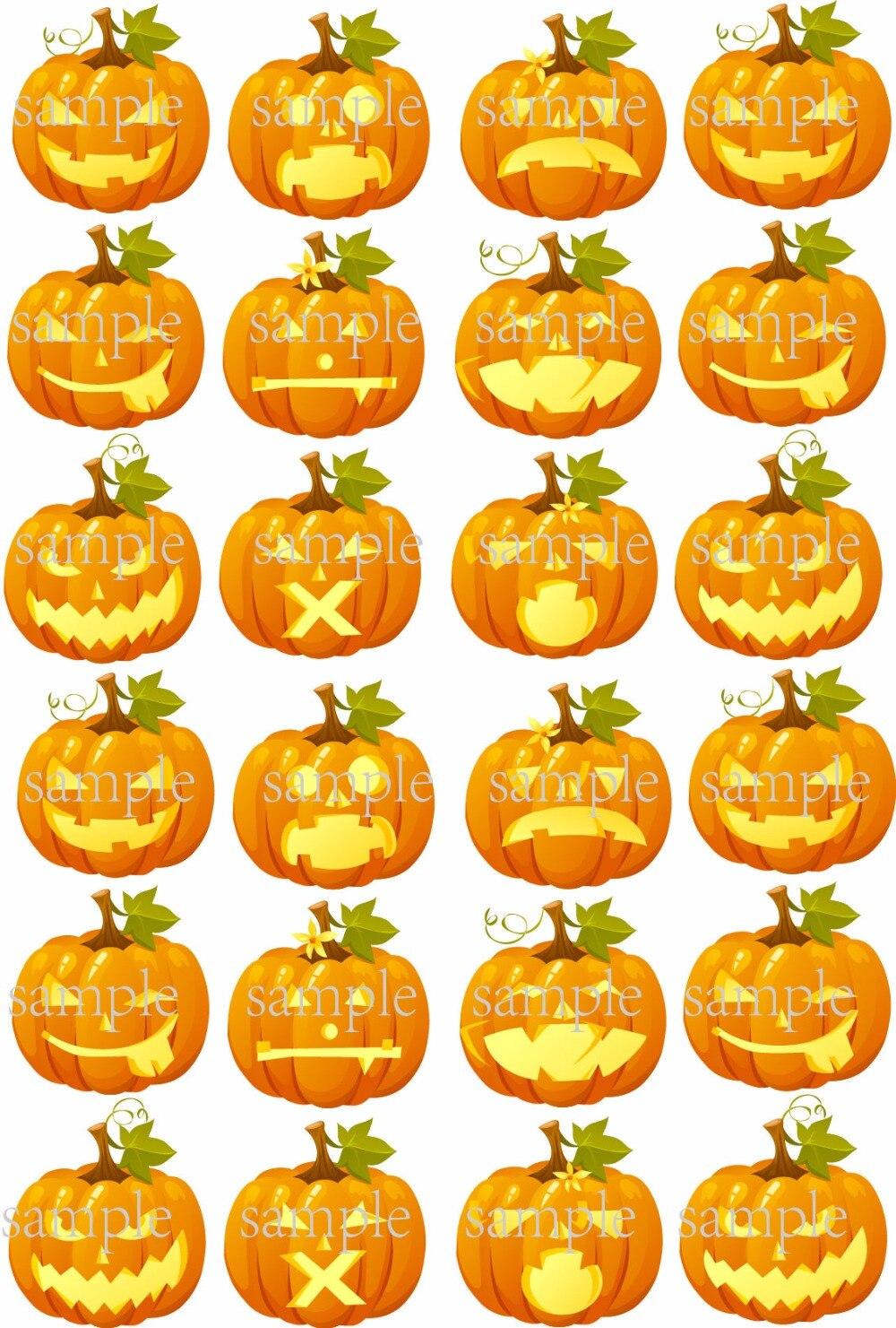 24 pumpkin emojis edible cake topper wafer rice paper cake decoration halloween cupcake topper wedding cake