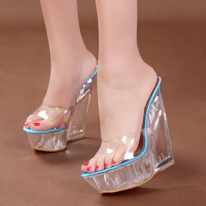 The Best Platform Women Shoes 2017 Transparent Ultra High Heels 15 Cm Waterproof Flowers Sandals Sexy Big Yards Dance Shoes Office & School Supplies