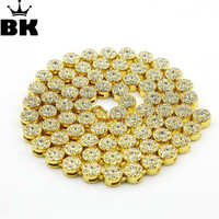 MEN'S 1 ROW Cluster Chain ICED OUT RHINESTONE YELLOW GOLD Color HIP HOP BLING 10MM 30INCH MEN CHAIN NECKLACE JEWELRY