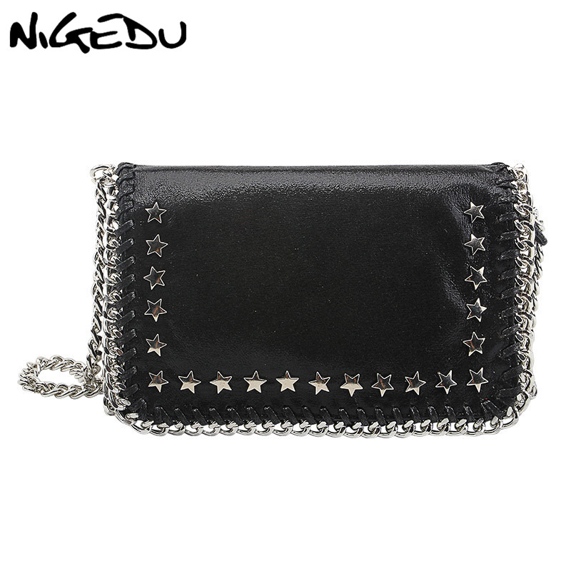 NIGEDU Fashion Star Rivets Crossbody Bag For Women Small Chain Flap Messenger Bag Female Clutches And Wallet Girls Clutch Purse yuanyu free shipping 2017 hot new real crocodile skin female bag women purse fashion women wallet women clutches women purse