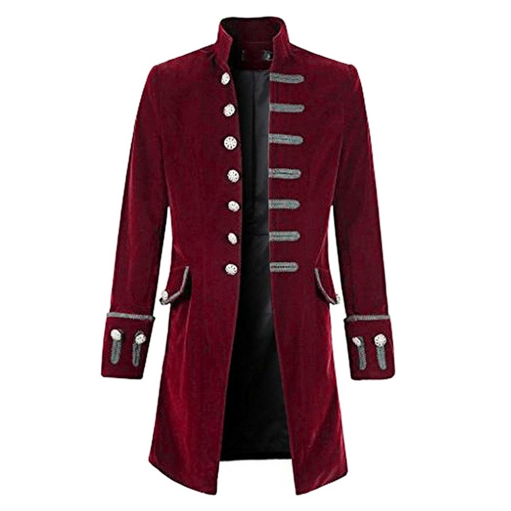 2018 Autumn Winter Men Coat Vintage Steampunk Tailcoat long Jacket Gothic  button Trench coat male Retro 61506a663c