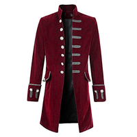 2018 Autumn Winter Men Coat Vintage Steampunk Tailcoat long Jacket Gothic button Trench coat male Retro Cool Uniform Costume