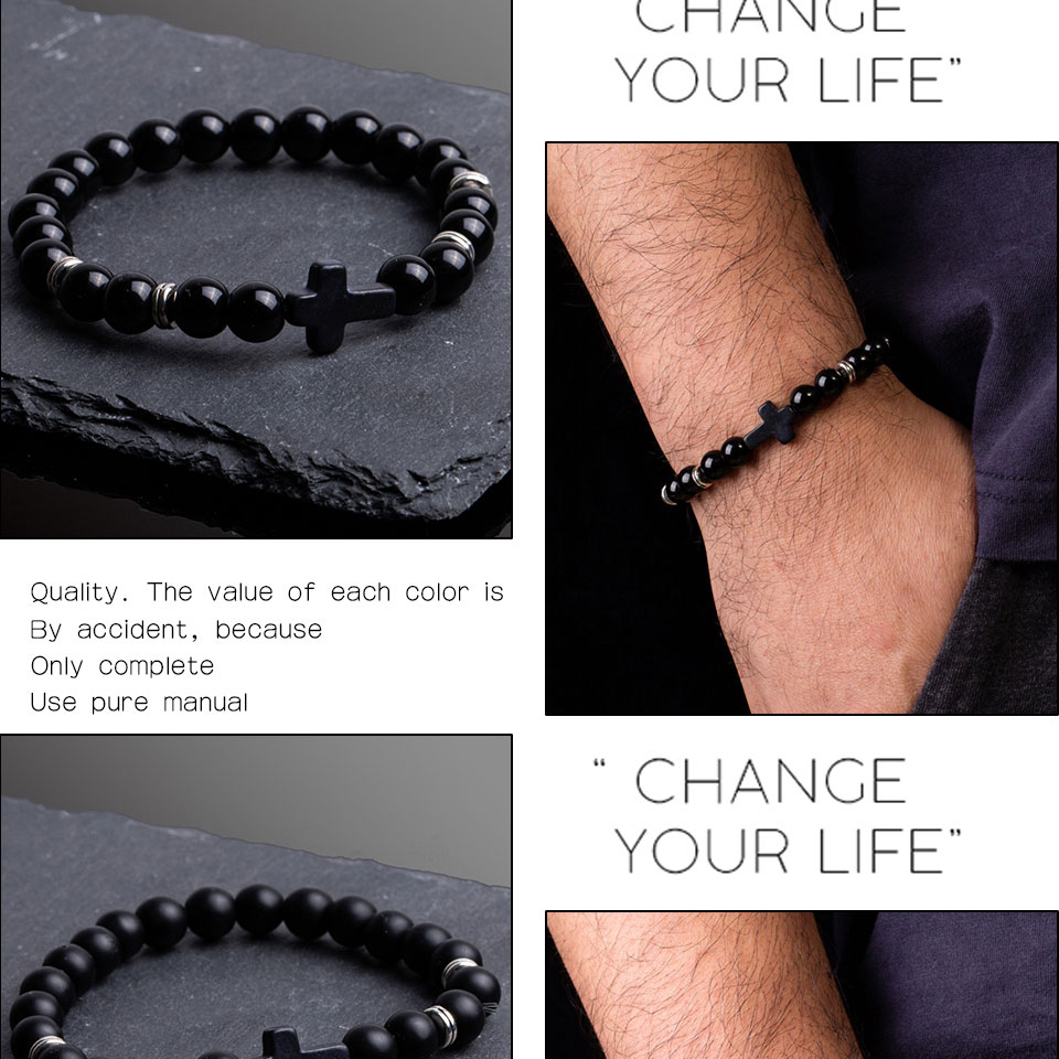 Black Nature Stone Lava Stone Bead Cross Charm Bracelets Bangles For Men Male Buddha Strand Bracelet Jewelry Accessories on Hand