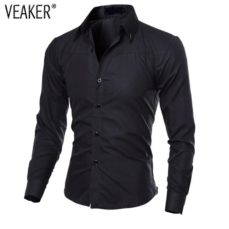 Camisa Estampada de Lunares a Cuadros para Hombre Camisas Casuales de Manga Larga para Hombres Camisas de Vestir Masculinas Slim Fit