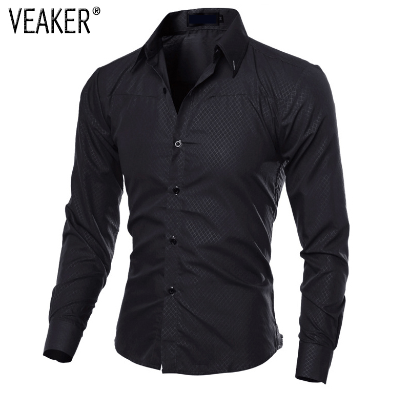 2019 New Men's Autumn Plaid Shirt Long Sleeve Slim Fit Casual Shirts Black Blue Men Business Shirt Tops Plus Size 5XL