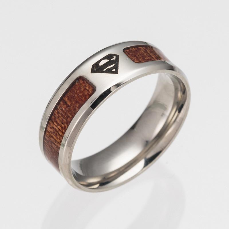 2017 Новая мода Личность высокого качества Творческие Мужская Titanium стали полукруг под дерево подарок ювелирные кольца