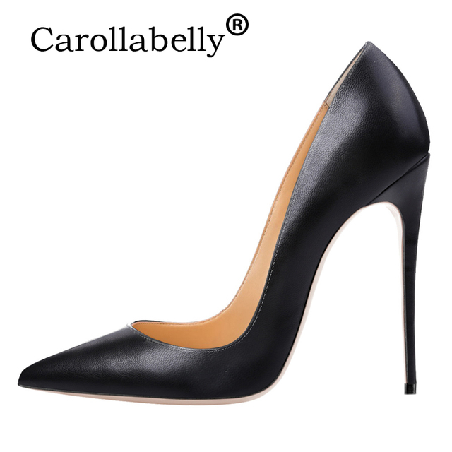 db996f0ebfd Carollabelly 2018 Woman High Heels Women Shoes Pumps Stilettos Shoes For Women  Black High Heels 12CM PU Leather Wedding shoes