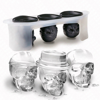 Novelty 3 Skulls Party Bar Silicon Freezer Ice Cube Mold Frozen Silicone Form For Ice Cube